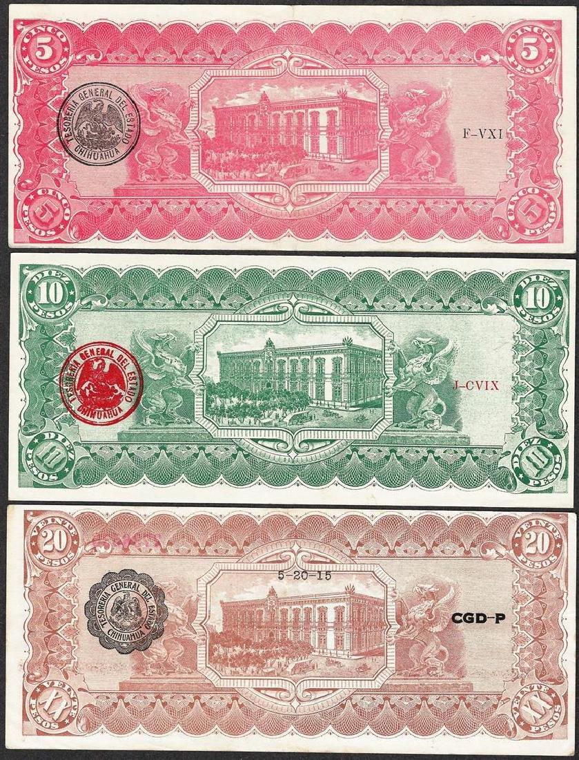 Lot of 1914-1915 El Estado de Chihuahua, Mexico Notes - 2