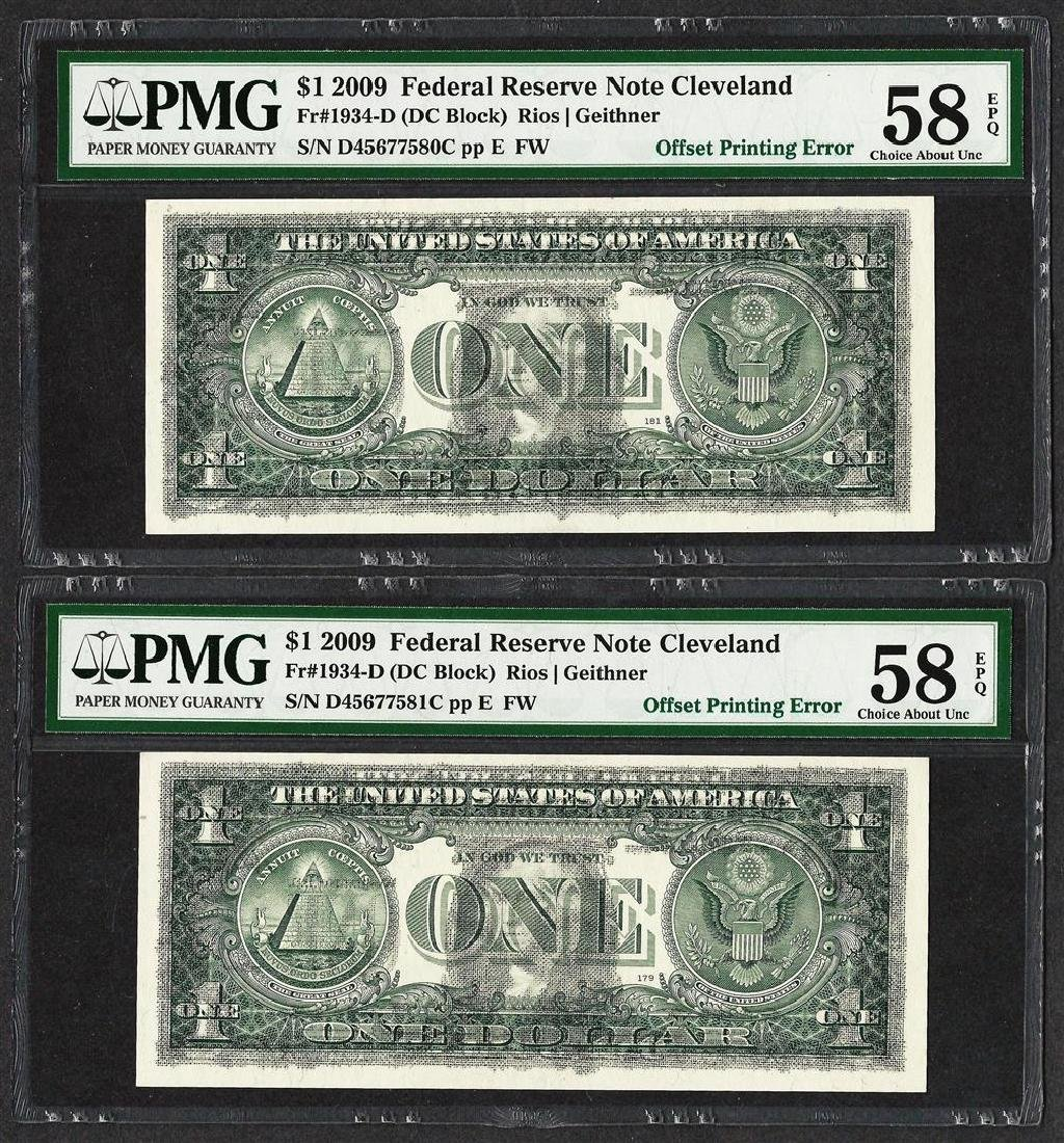 (2) Consec. 2009 $1 Federal Reserve Notes Offset