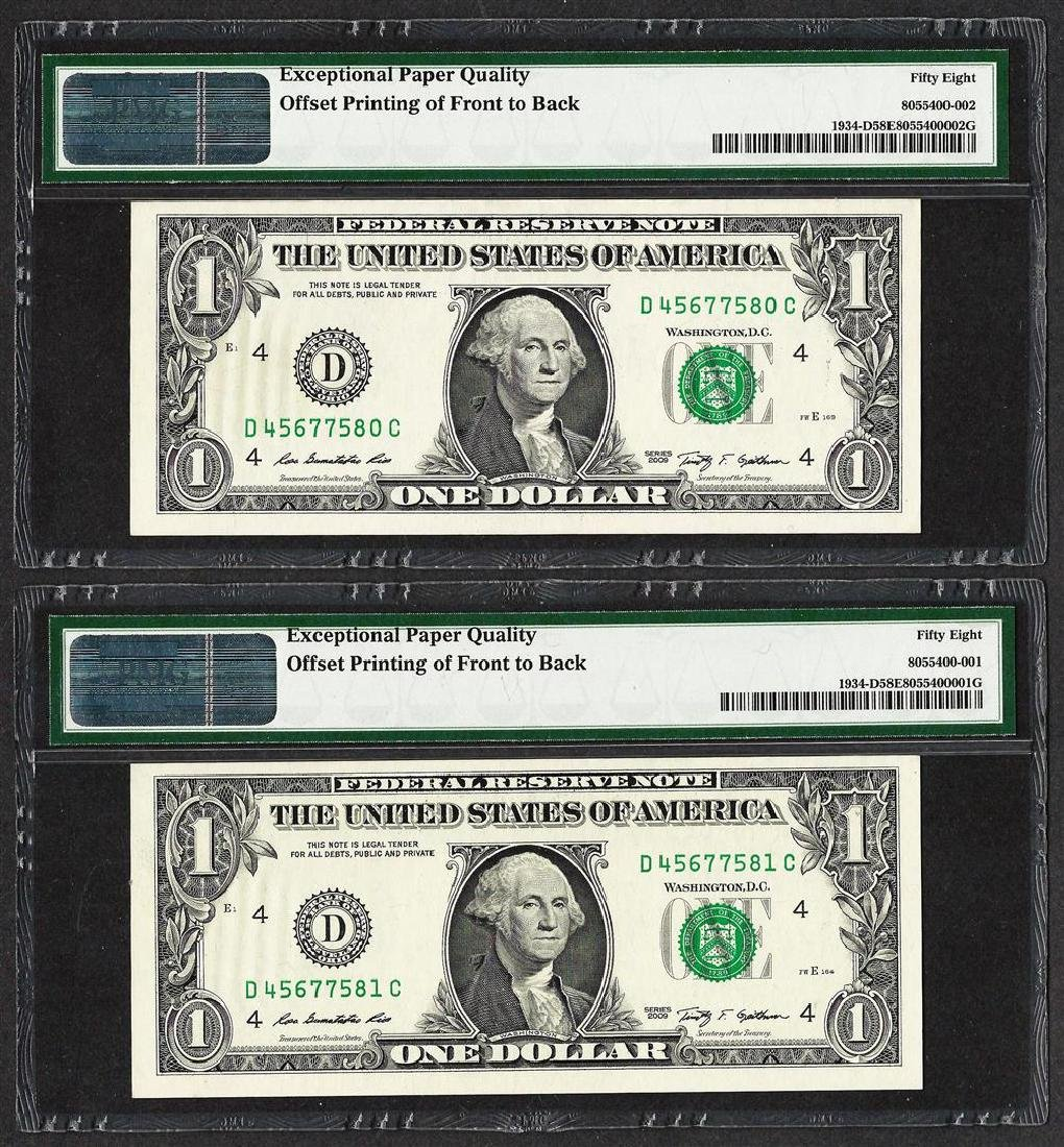 (2) Consec. 2009 $1 Federal Reserve Notes Offset - 2