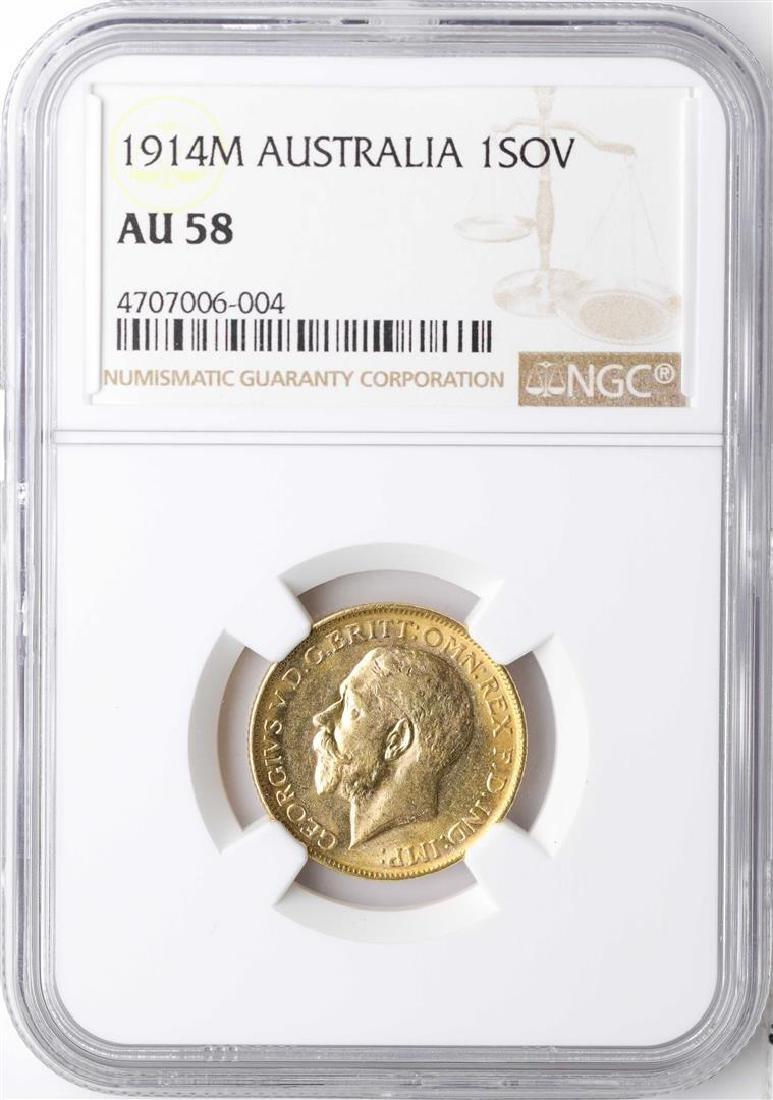 1914M Australia Sovereign Gold Coin NGC AU58