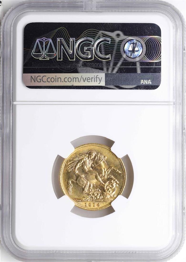 1914M Australia Sovereign Gold Coin NGC AU58 - 2