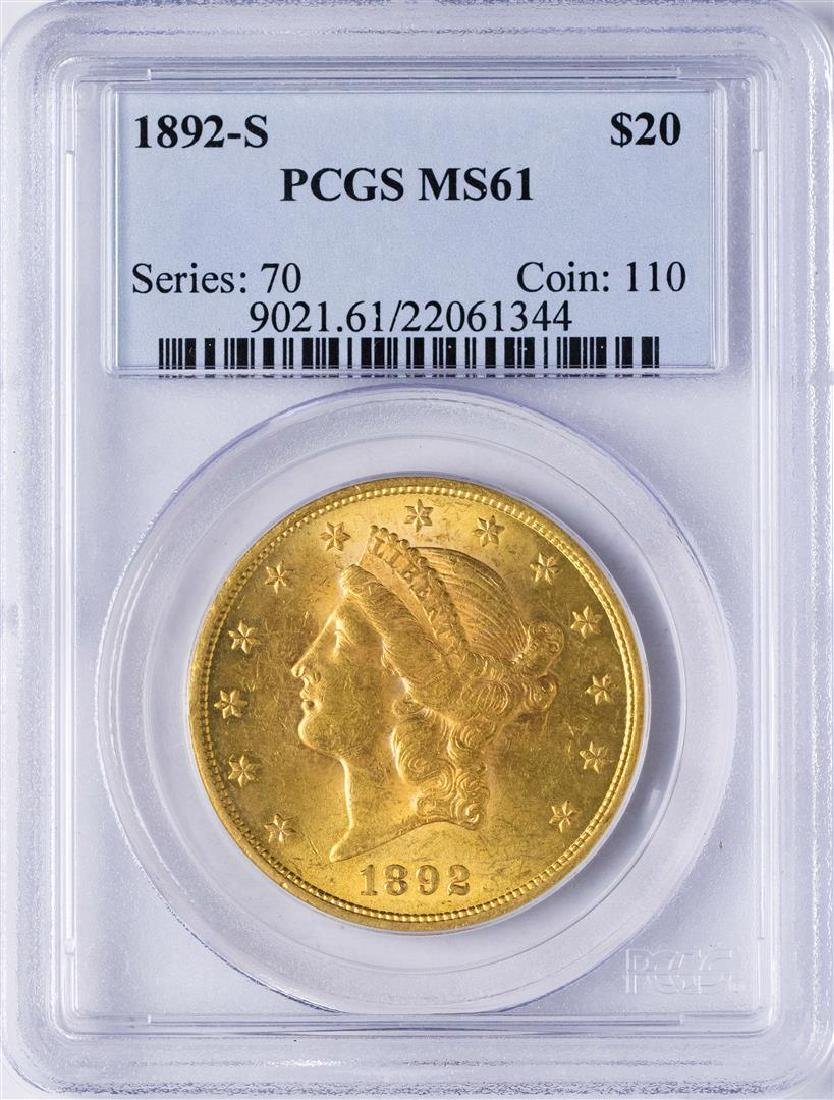 1892-S $20 Liberty Head Double Eagle Gold Coin PCGS