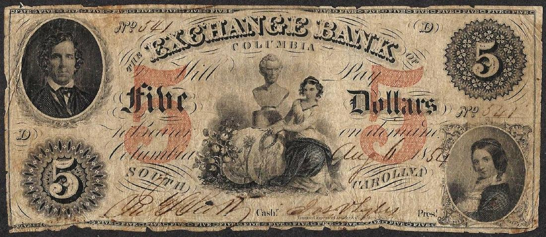 1854 $5 Exchange Bank of Columbia, SC Obsolete Note
