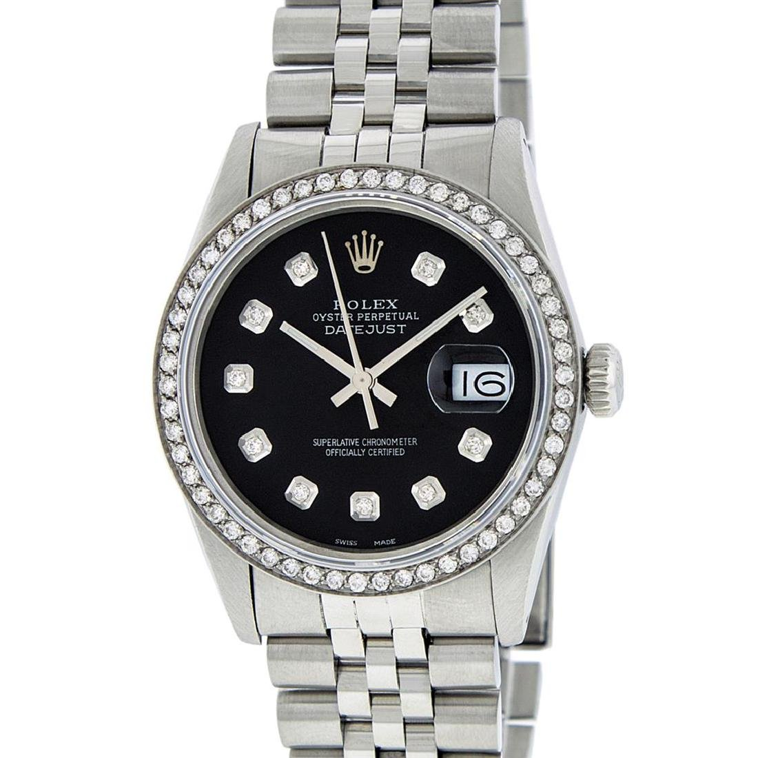 Rolex Men's Stainless Steel Black Diamond 36MM Datejust