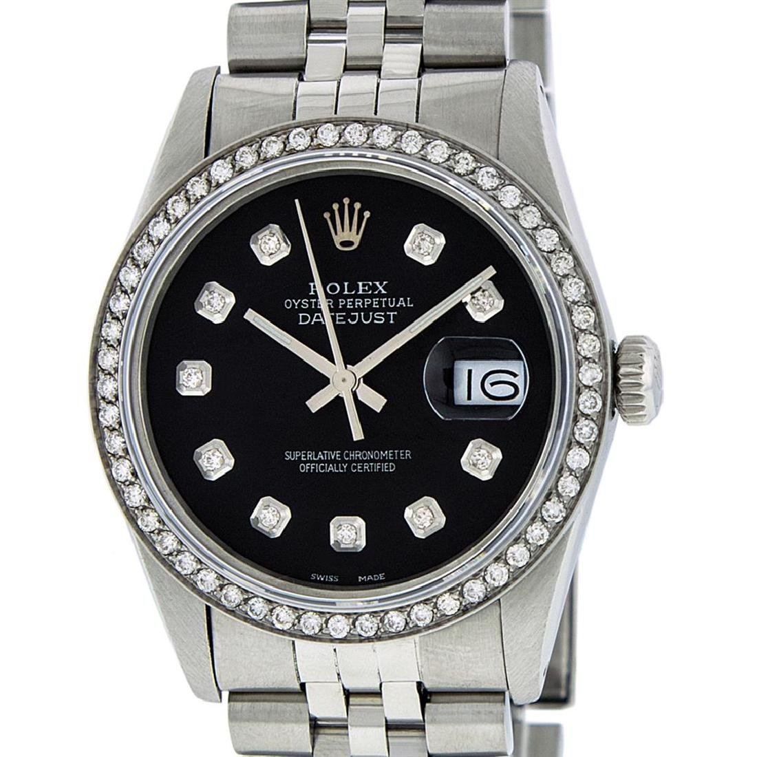Rolex Men's Stainless Steel Black Diamond 36MM Datejust - 2
