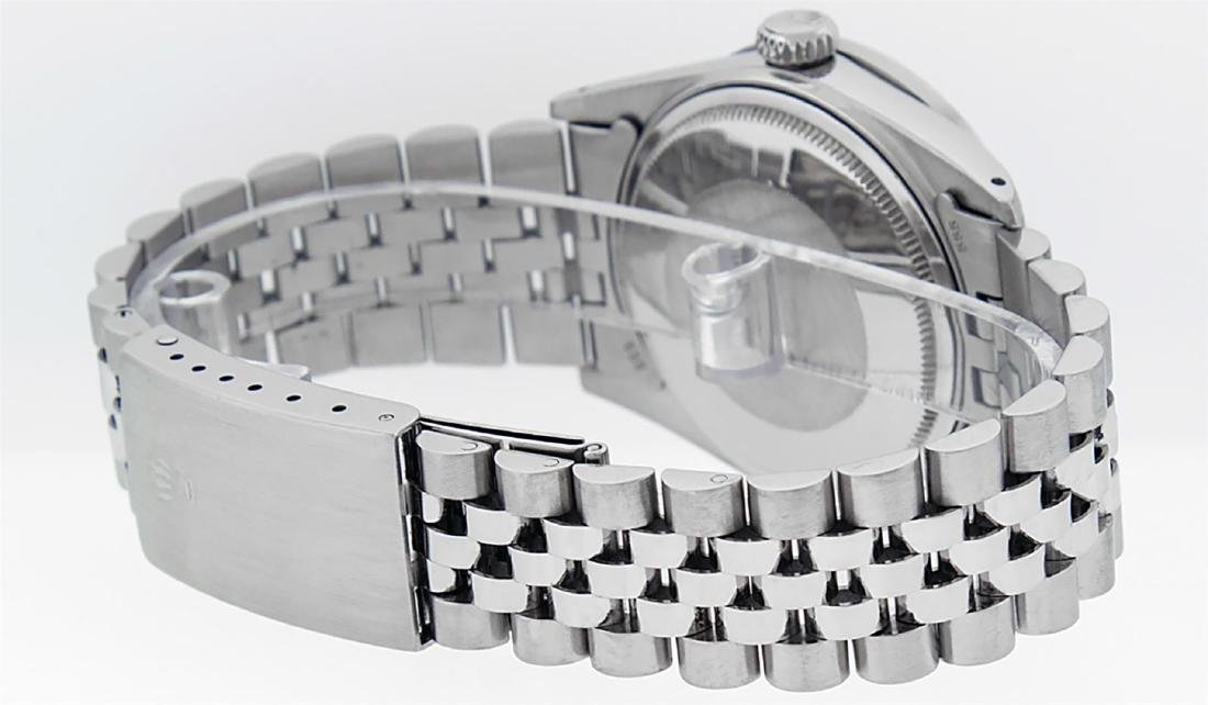 Rolex Men's Stainless Steel Black Diamond 36MM Datejust - 3