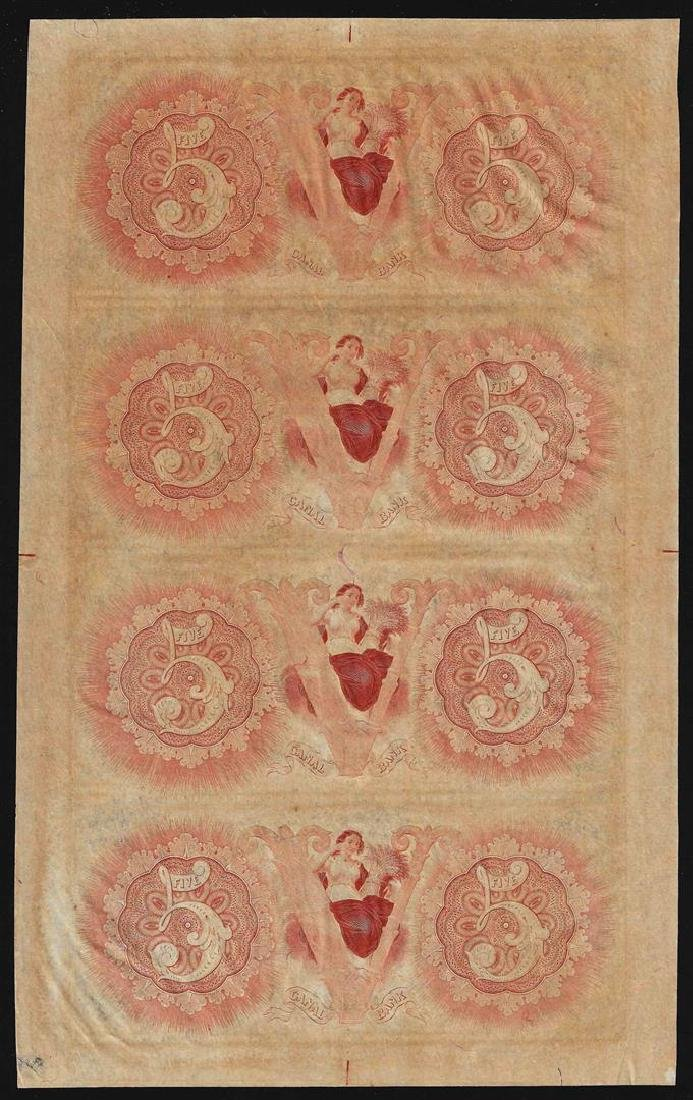 Uncut Sheet of $5 Canal Bank New Orleans Obsolete Notes - 2