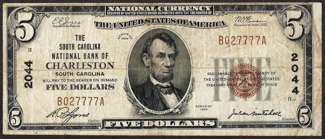 1929 $5 NB of Charleston, South Carolina CH# 2044