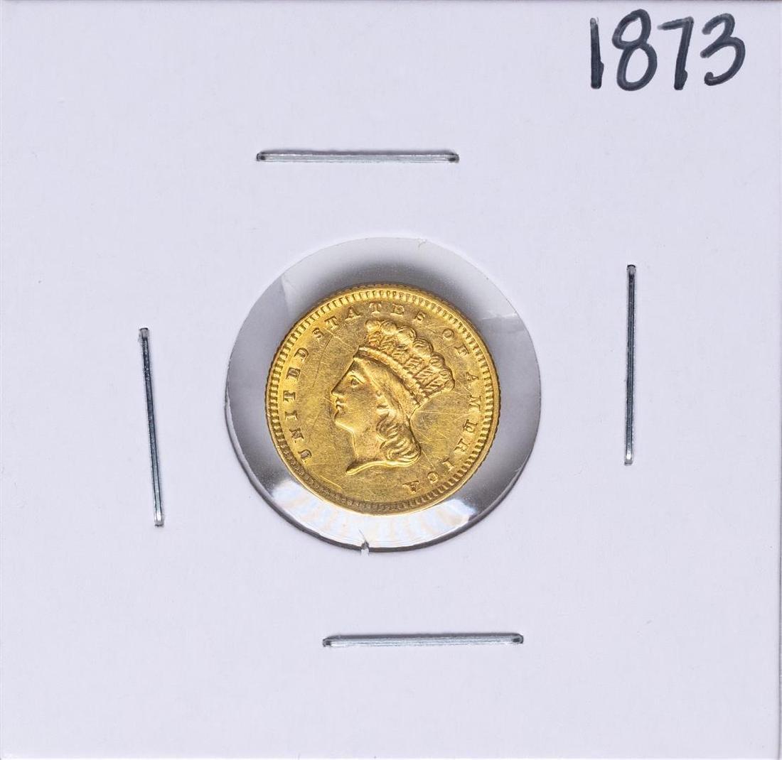 1873 Open 3 $1 Indian Princess Head Dollar Gold Coin