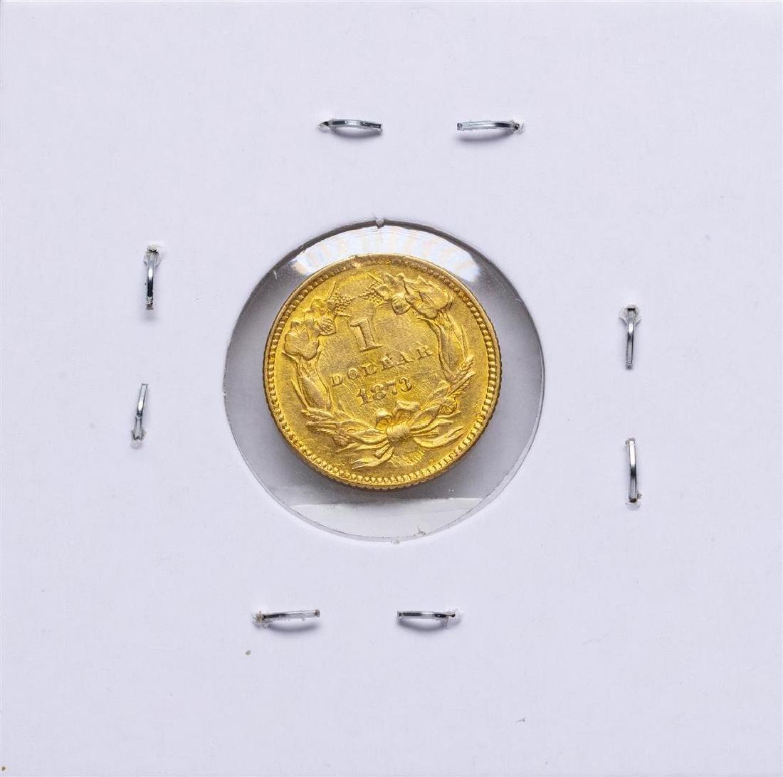 1873 Open 3 $1 Indian Princess Head Dollar Gold Coin - 2