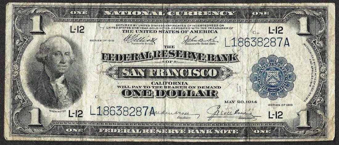 1918 $1 Federal Reserve Bank of San Francisco Note