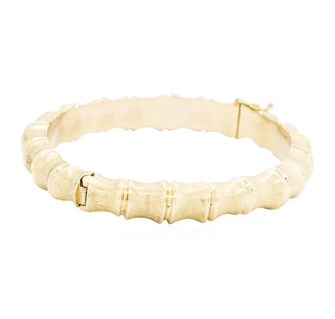 14KT Yellow Gold Bamboo Motif Bangle Bracelet