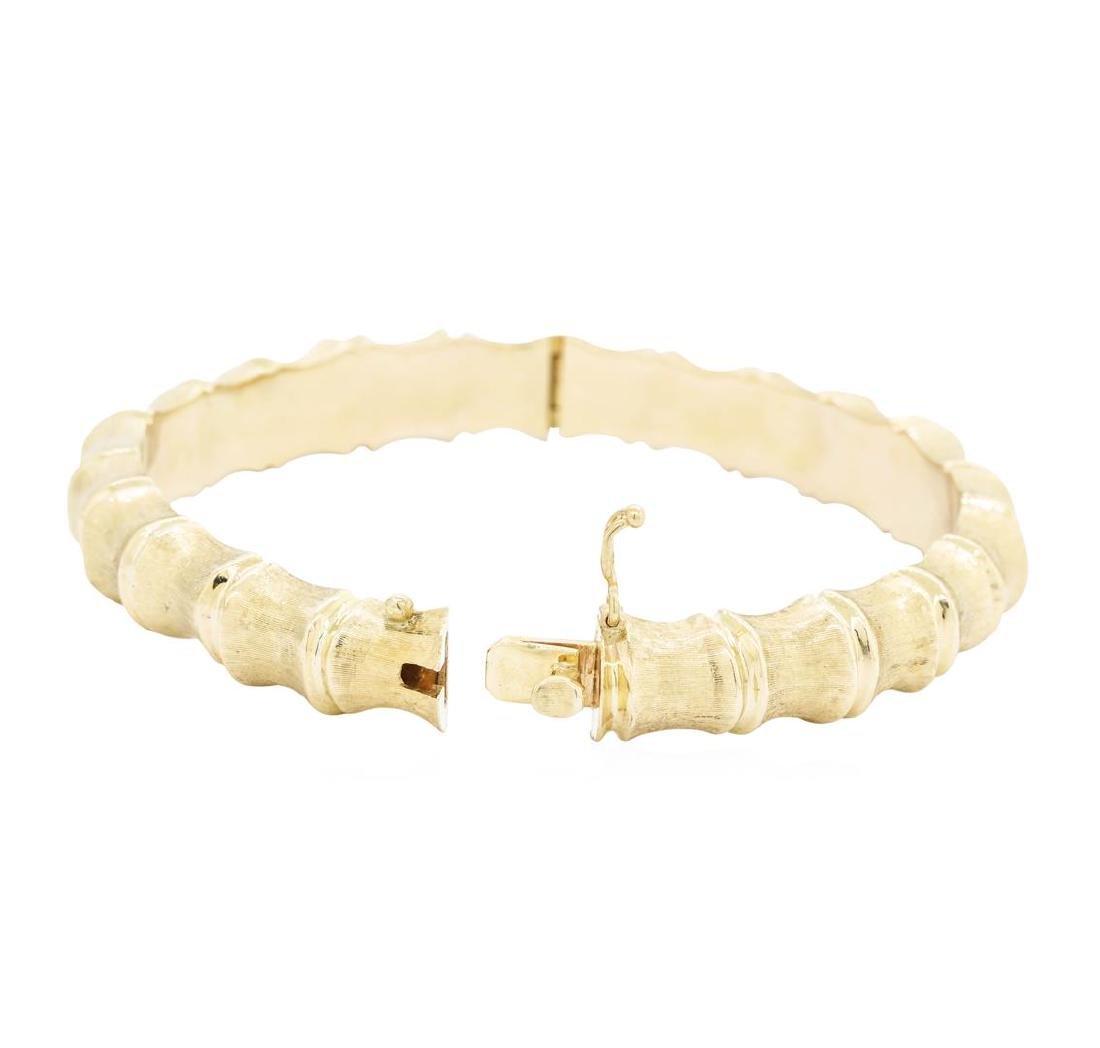 14KT Yellow Gold Bamboo Motif Bangle Bracelet - 2