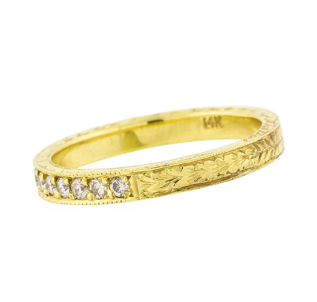 14K Yellow Gold 0.18 ctw Brilliant Round Diamond Ring - 3