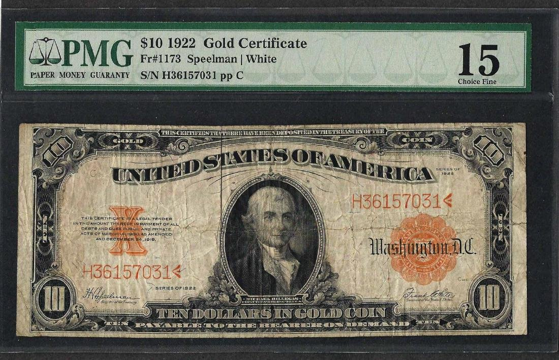 1922 $10 Gold Certificate Note Fr.1173 PMG Choice Fine