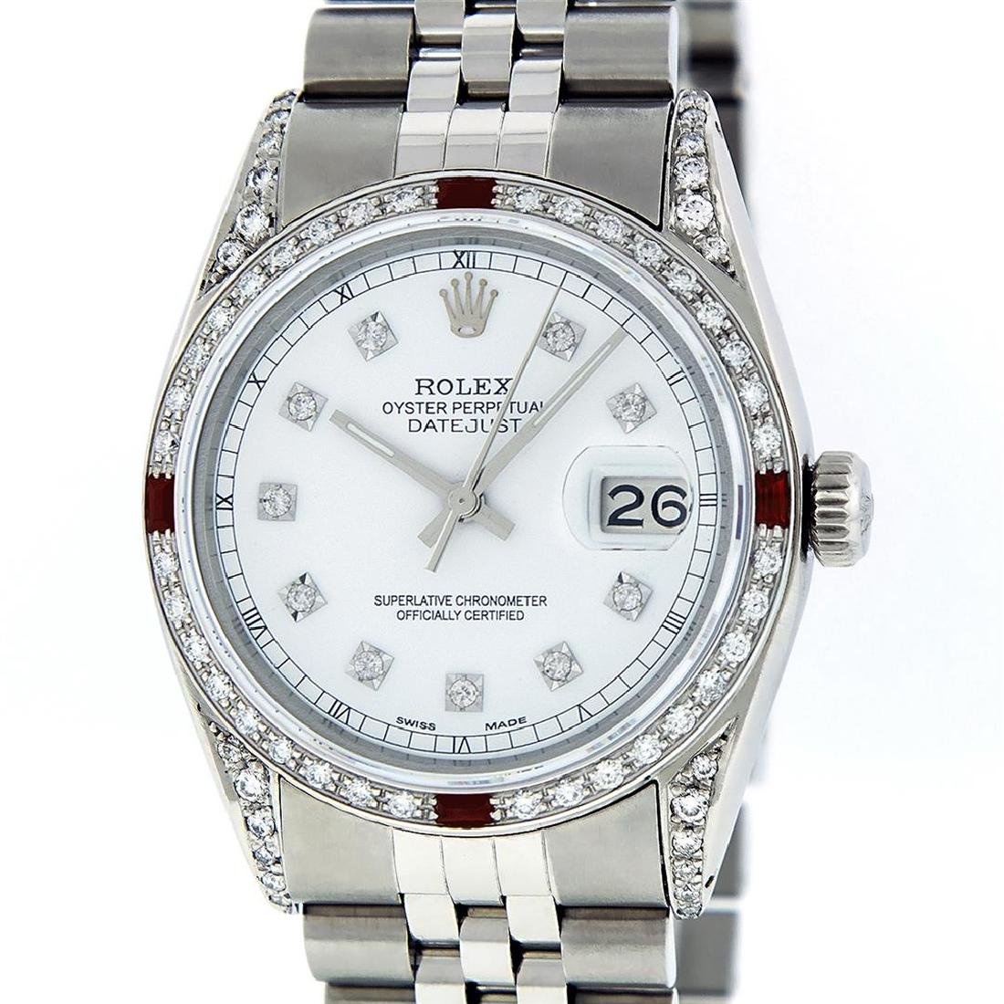 Rolex Men's Stainless Steel Diamond Lugs & Ruby