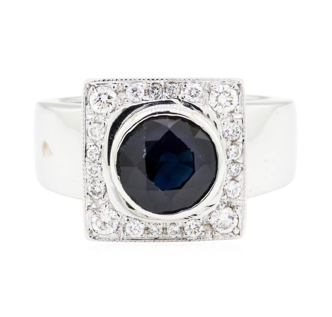 14KT White Gold 2.96 ctw Sapphire and Diamond Ring - 2