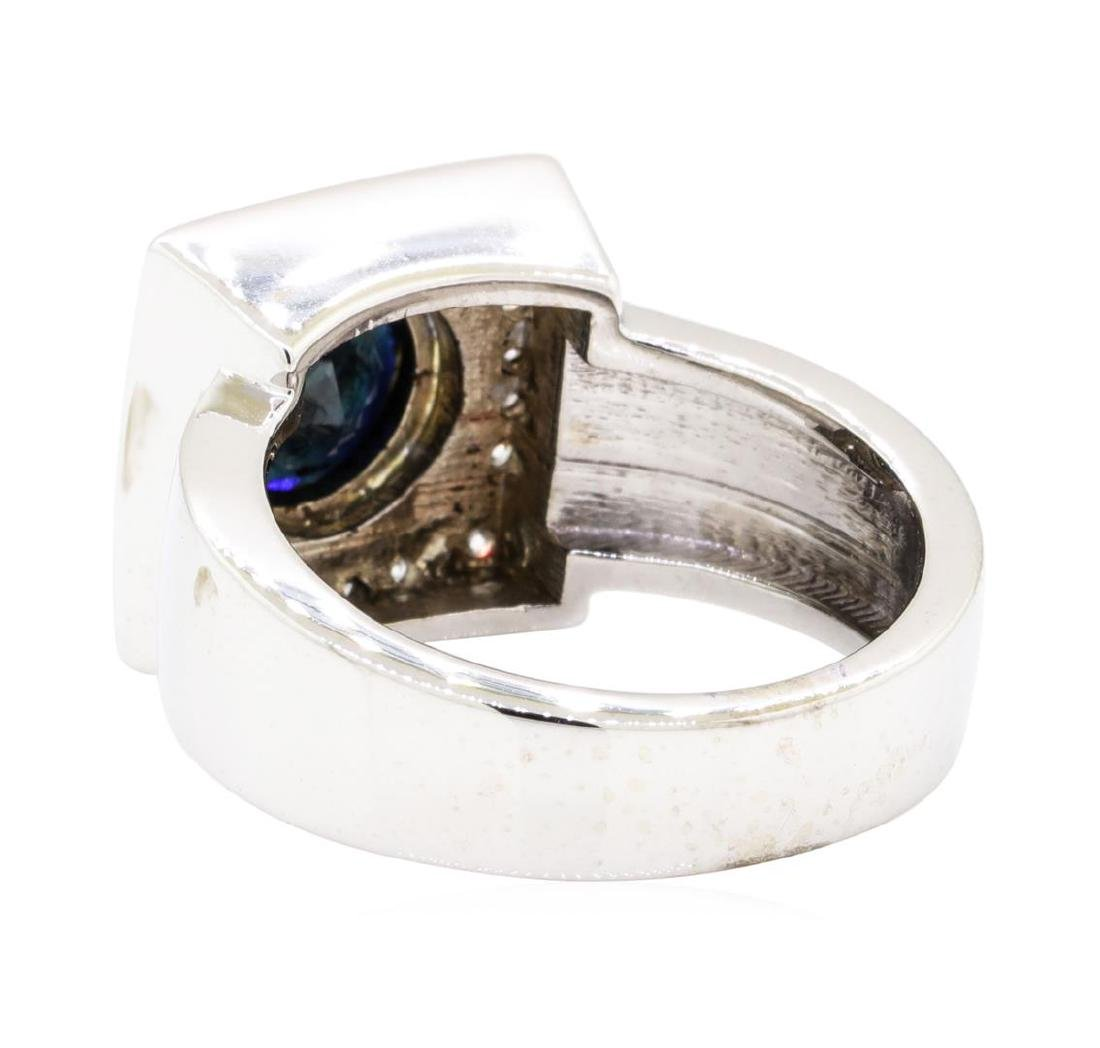 14KT White Gold 2.96 ctw Sapphire and Diamond Ring - 3