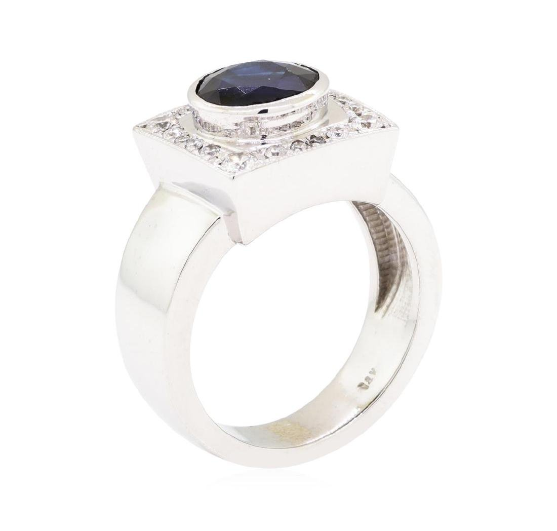 14KT White Gold 2.96 ctw Sapphire and Diamond Ring - 4