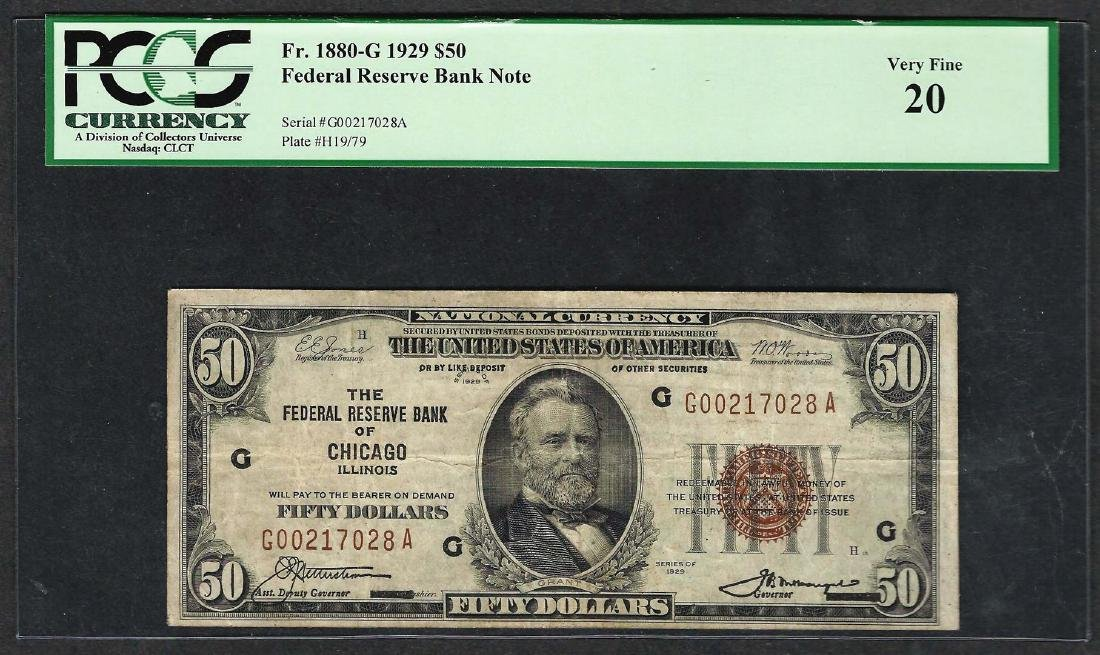 1929 $50 Federal Bank of Chicago Note Fr.1880-G PMG