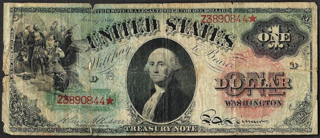 1869 $1 Rainbow Legal Tender Note Tape Repaired