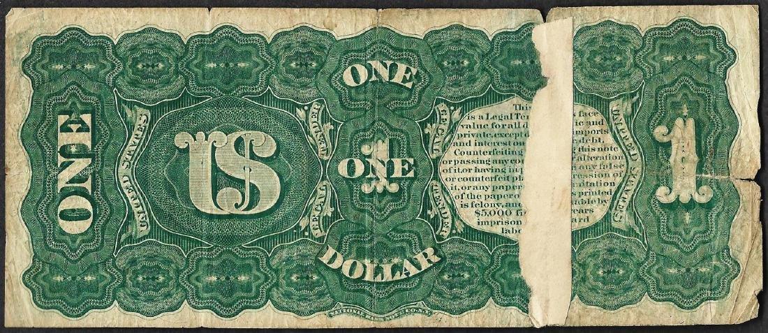 1869 $1 Rainbow Legal Tender Note Tape Repaired - 2