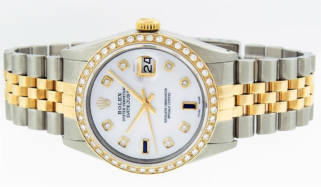 Rolex Men's Two Tone 14K Mother Of Pearl Diamond 36MM - 6