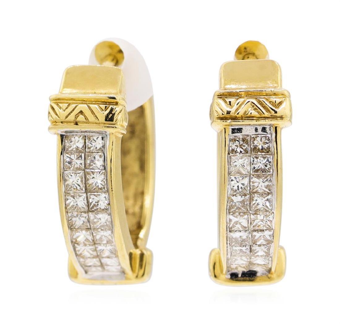 14KT Yellow Gold 1.60 ctw Diamond Earrings