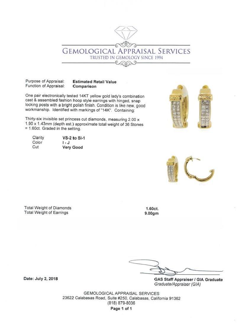 14KT Yellow Gold 1.60 ctw Diamond Earrings - 3