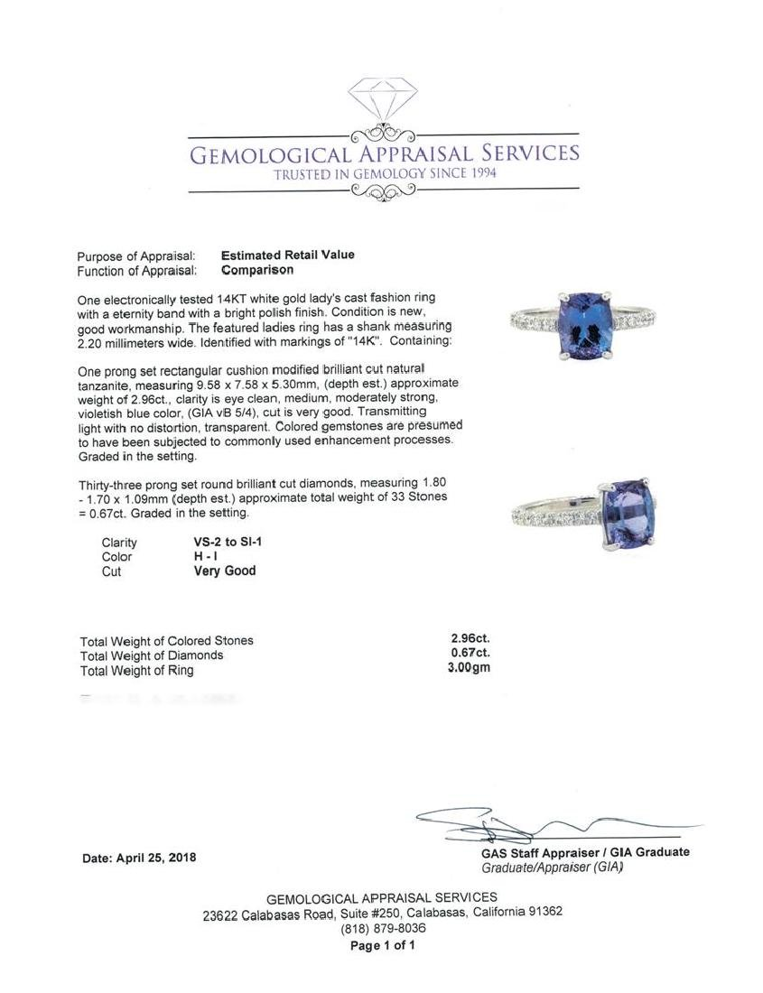 14KT White Gold 2.96 ctw Tanzanite and Diamond Ring - 5