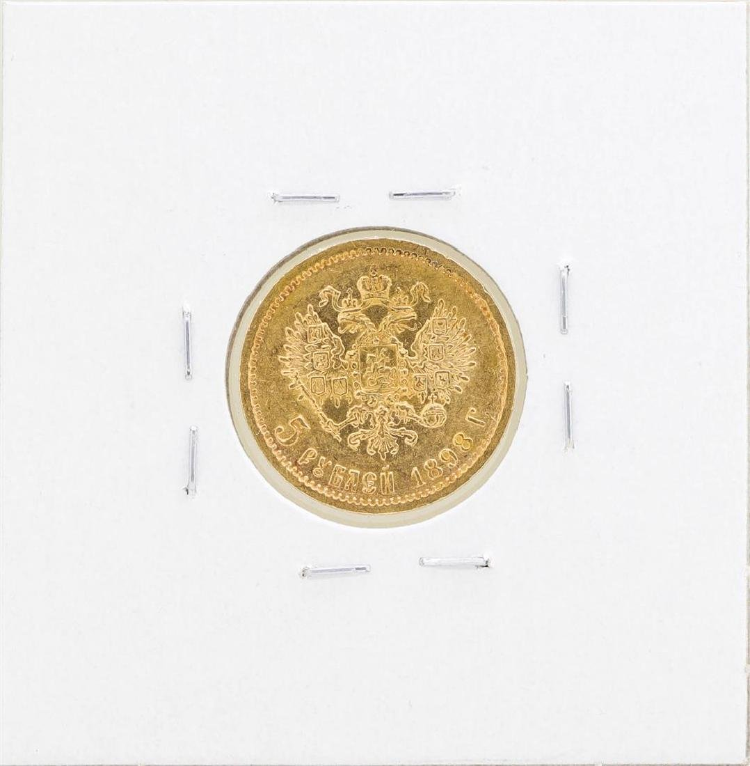 1898 Russia 5 Roubles Gold Coin - 2