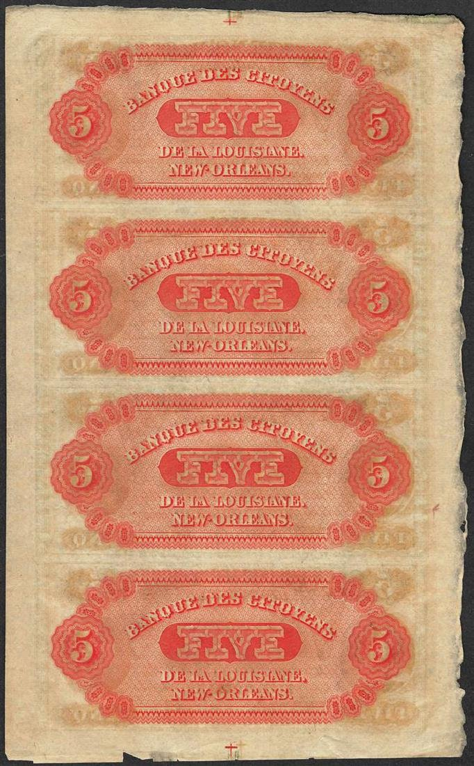 Uncut Sheet of 1800's $5 Citizens Bank of Louisiana - 2