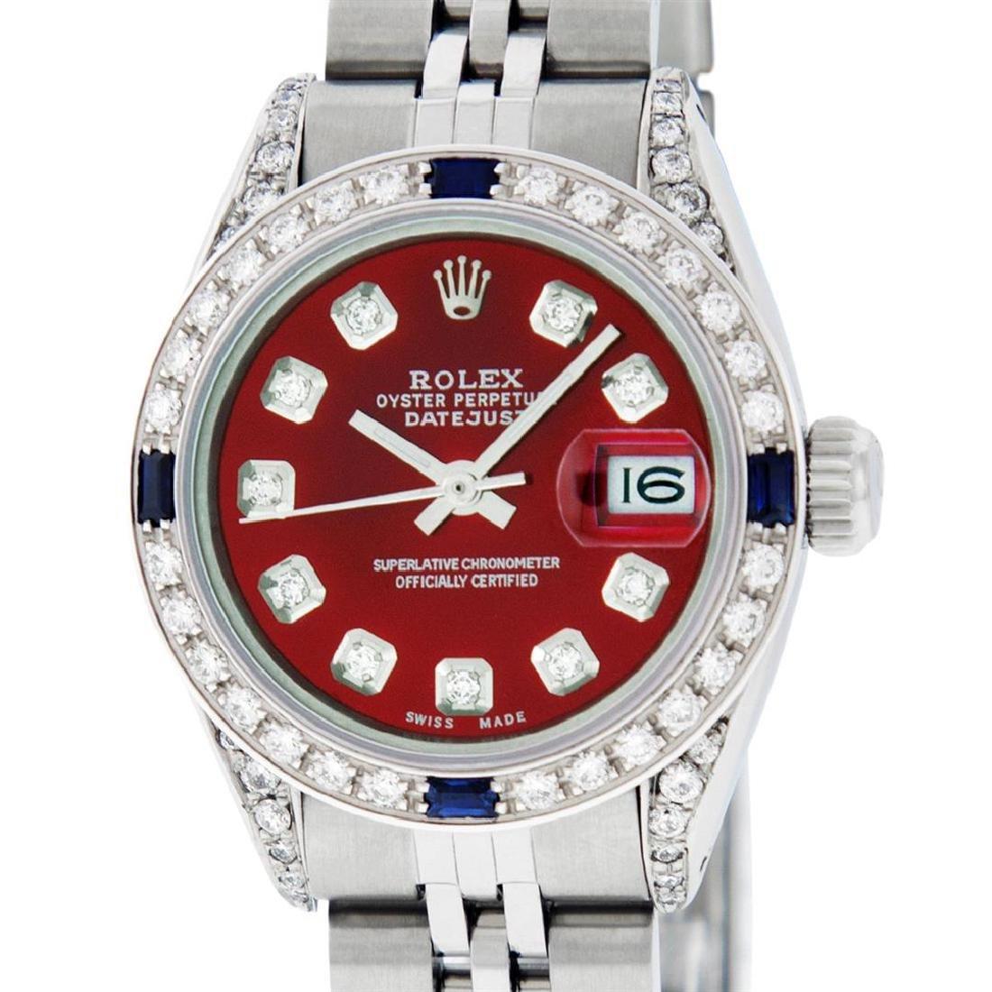 Rolex Ladies Stainless Steel Diamond Lugs & Sapphire