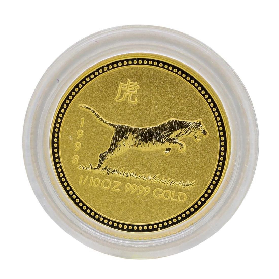 1998 $15 Australia Lunar Year of the Tiger 1/10 oz.