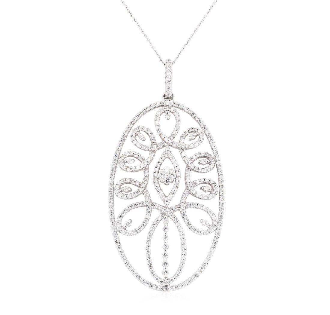 14-18KT White Gold 2.06 ctw Diamond Pendant & Chain