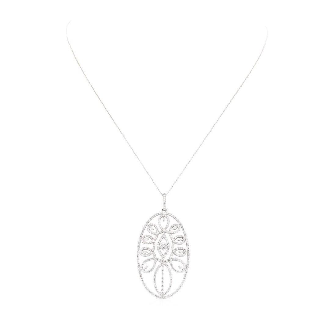 14-18KT White Gold 2.06 ctw Diamond Pendant & Chain - 2