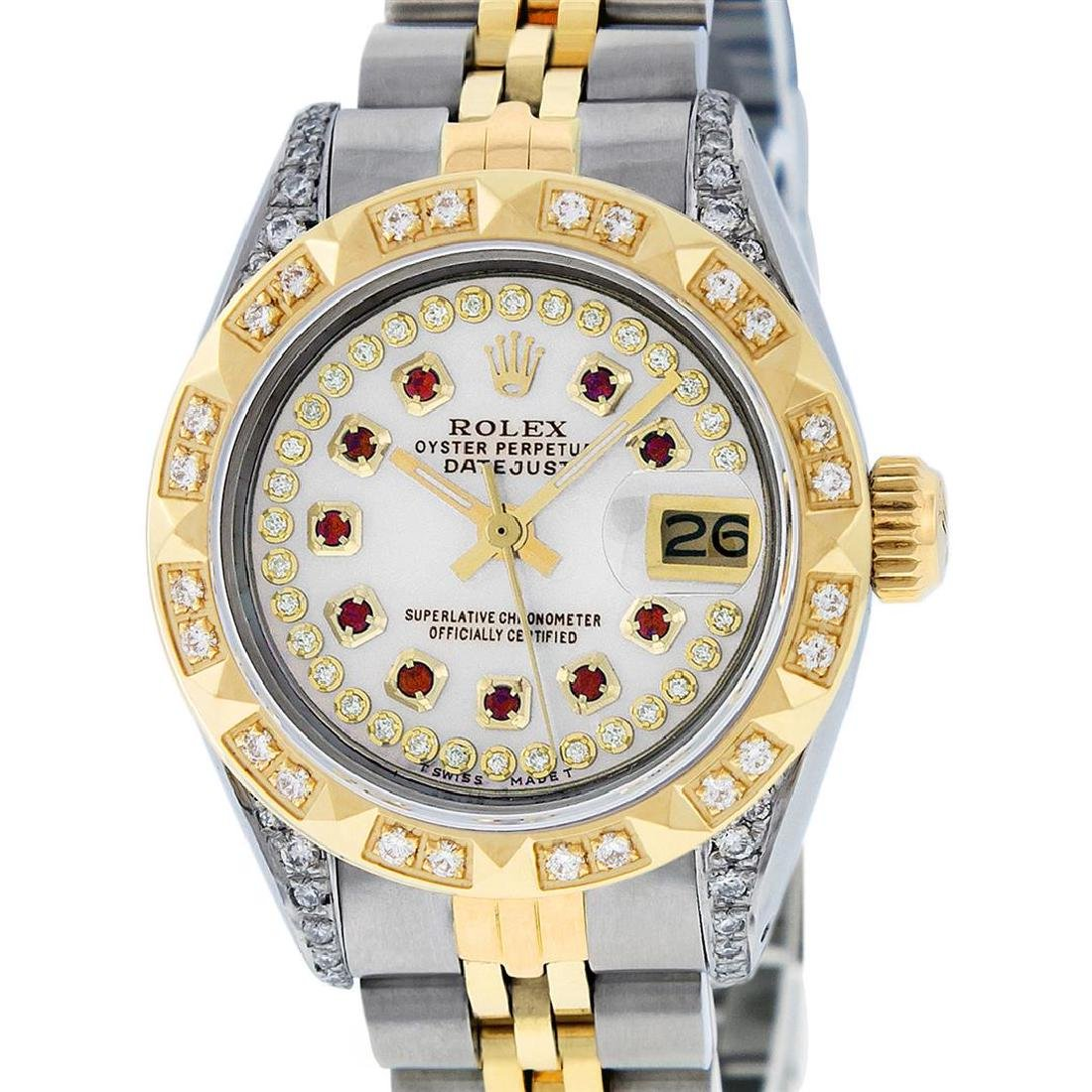 Rolex Ladies Two Tone 14K MOP Ruby & Pyramid Diamond