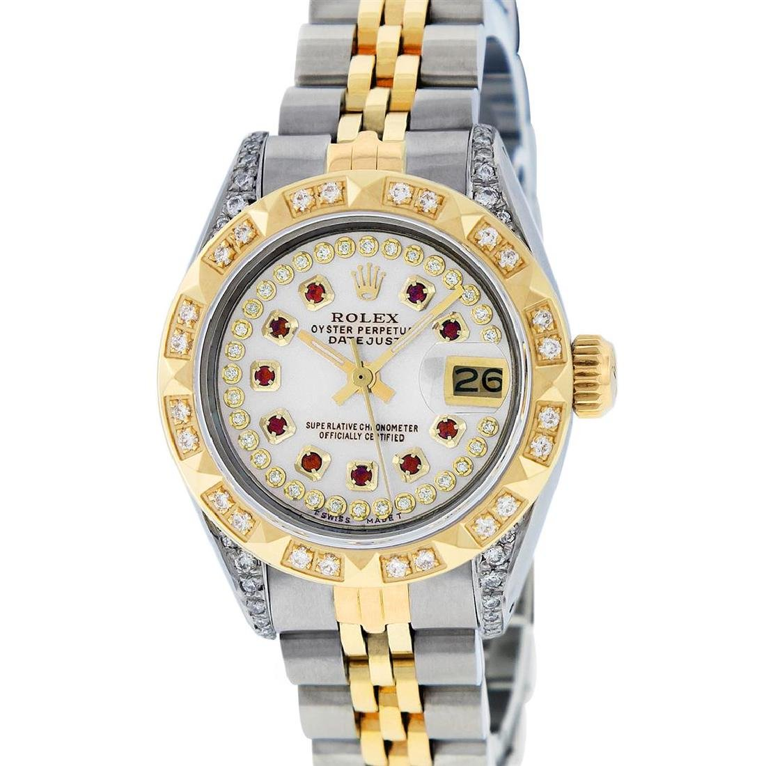 Rolex Ladies Two Tone 14K MOP Ruby & Pyramid Diamond - 2