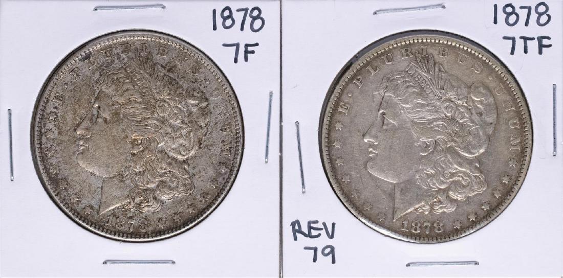 Lot of (2) 1878 7TF $1 Morgan Silver Dollar Coins