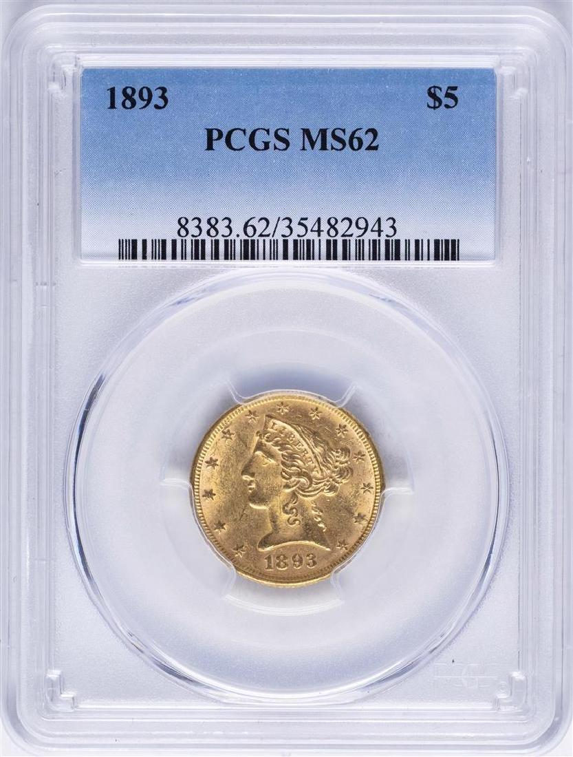 1893 $5 Liberty Head Half Eagle Gold Coin PCGS MS62