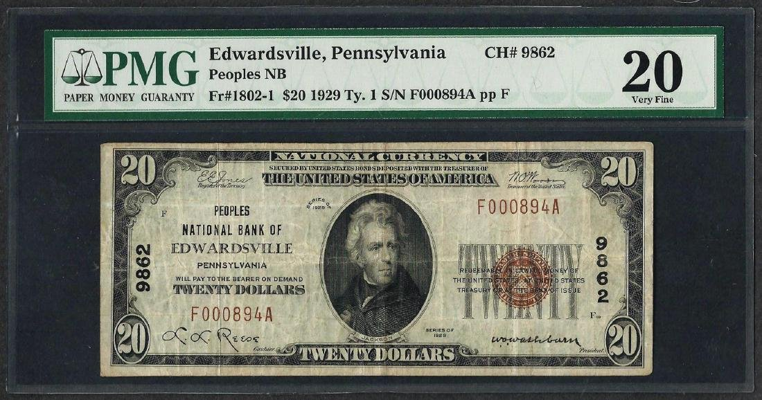 1929 $20 National Currency Note Edwardsville, PA CH#