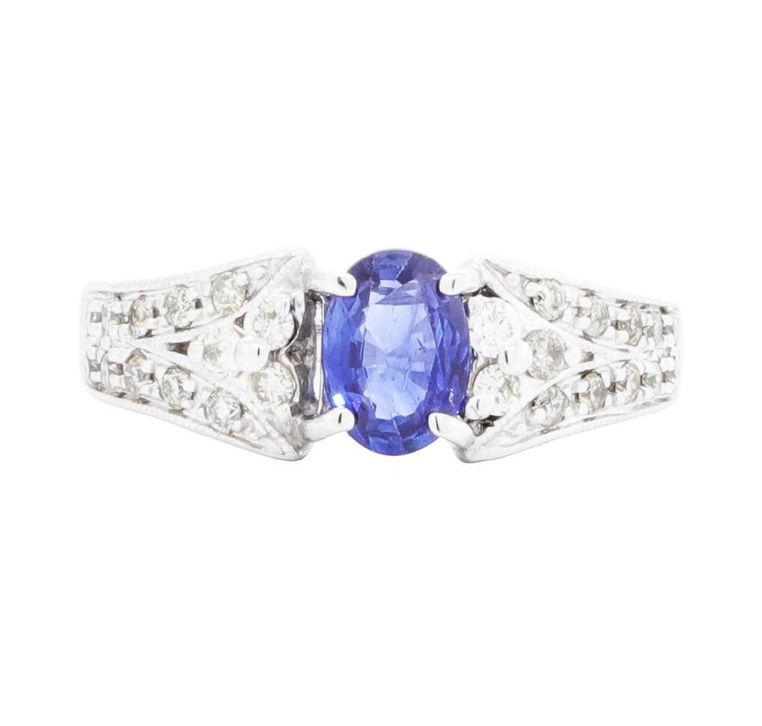 14KT White Gold Ladies 0.87 ctw Sapphire and Diamond