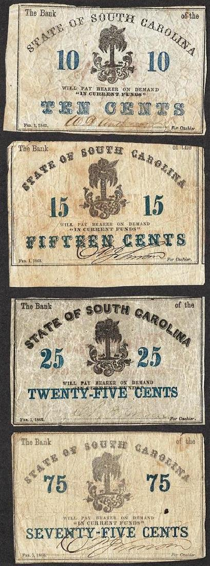Lot of (4) 1863 State of South Carolina Obsolete Notes