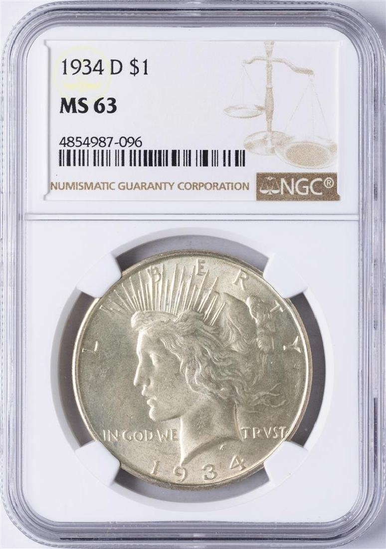 1934-D $1 Peace Silver Dollar Coin NGC MS63