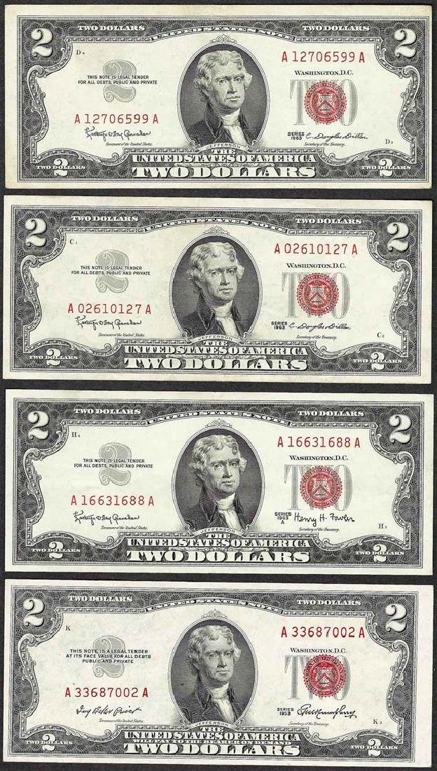 Lot of (4) 1953/1963 $2 Legal Tender Notes
