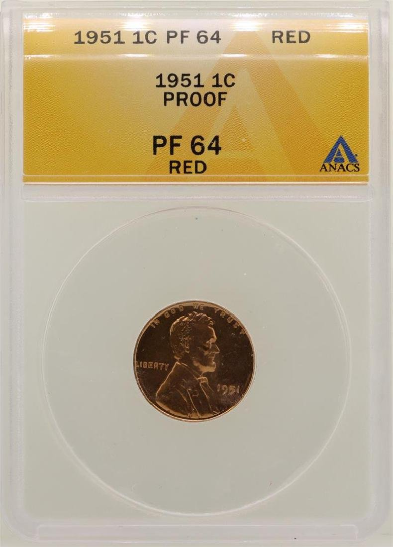 1951 Lincoln Wheat Cent Proof Coin ANACS PF64RD