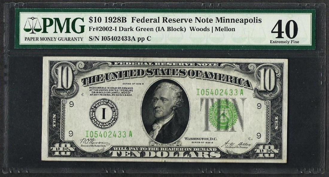 1928B $10 Federal Reserve Note Minneapolis Fr.2002-I