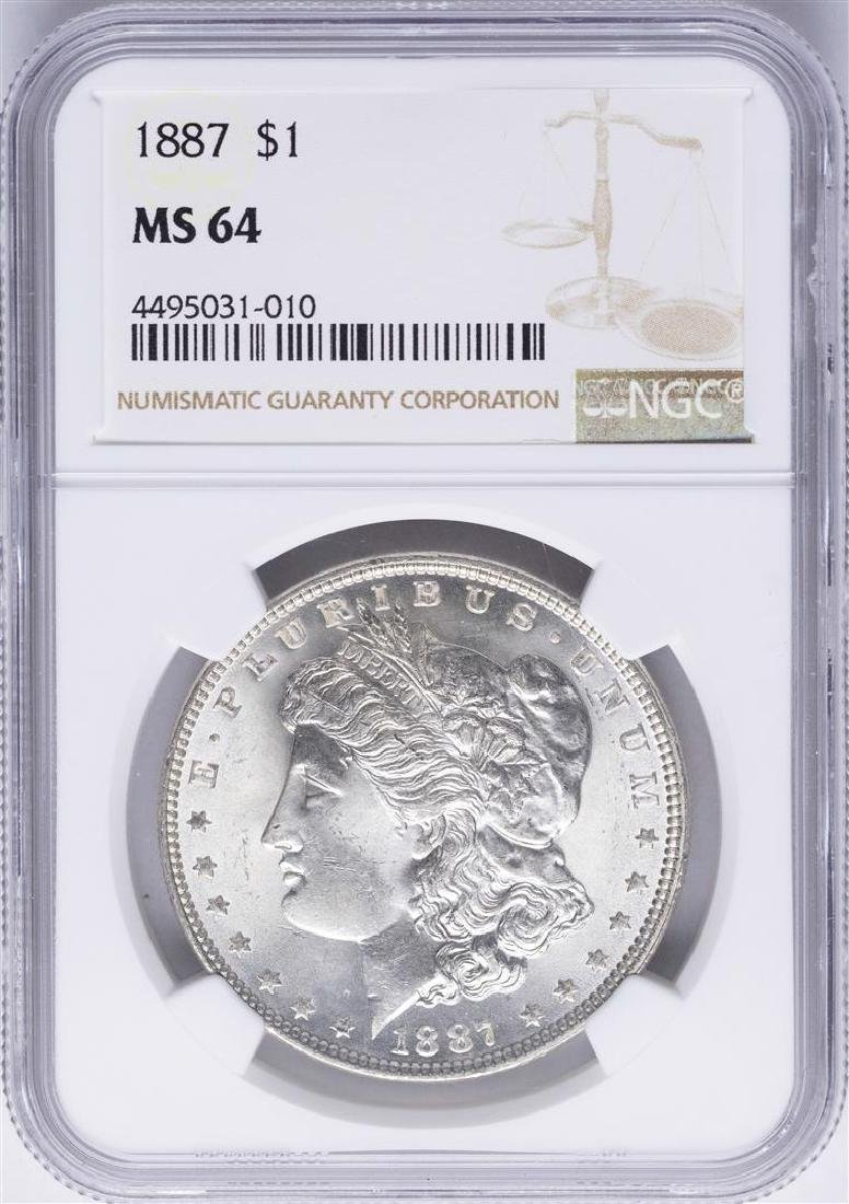 1887 $1 Morgan Silver Dollar Coin NGC MS64