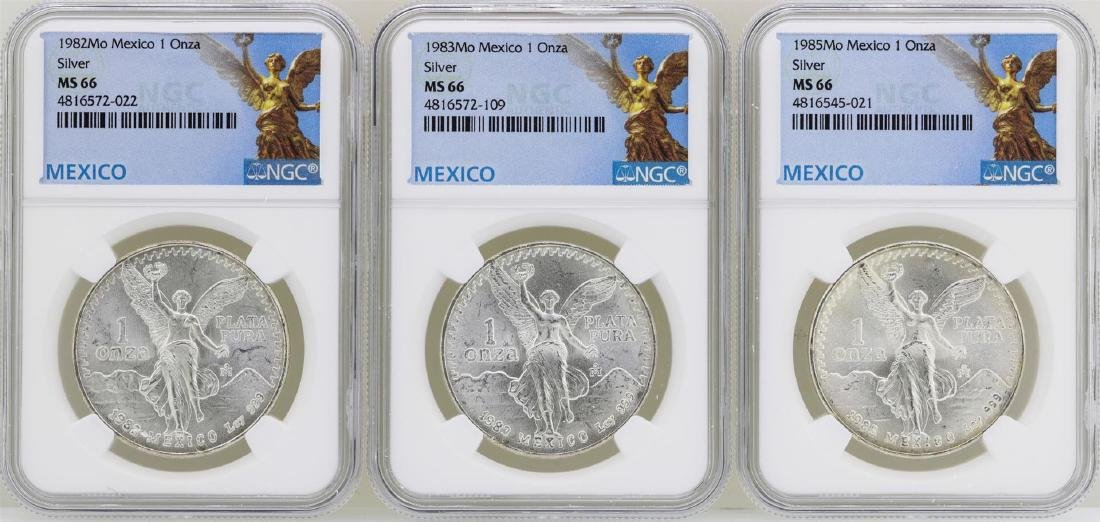 Lot of 1982Mo/1983Mo/1985Mo Mexico Libertad Onza Silver