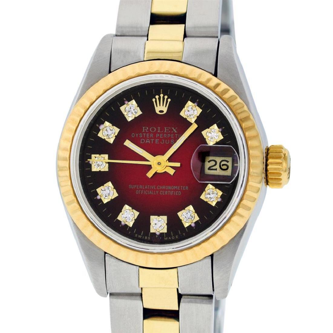 Rolex Ladies Two Tone 14K Red Vignette Diamond 26MM